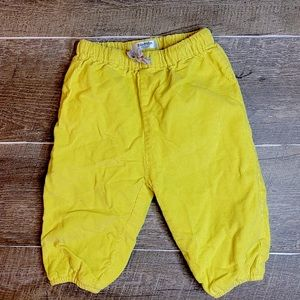 Baby Boden Yellow Corduroy Pants 6-12 Months